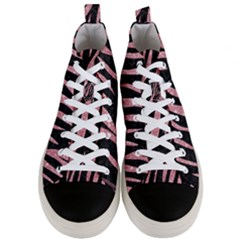 Skin3 Black Marble & Pink Glitter (r) Men s Mid Top Canvas Sneakers