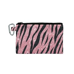 Skin3 Black Marble & Pink Glitter Canvas Cosmetic Bag (small)