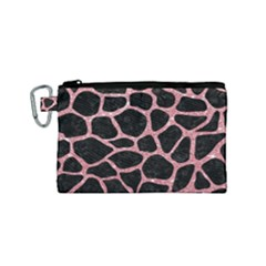 Skin1 Black Marble & Pink Glitter Canvas Cosmetic Bag (small)
