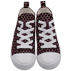 Scales3 Black Marble & Pink Glitter (r) Kid s Mid Top Canvas Sneakers