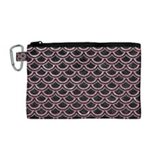 Scales2 Black Marble & Pink Glitter (r) Canvas Cosmetic Bag (medium)