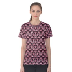 Scales2 Black Marble & Pink Glitter Women s Cotton Tee