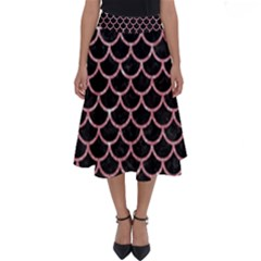Scales1 Black Marble & Pink Glitter (r) Perfect Length Midi Skirt
