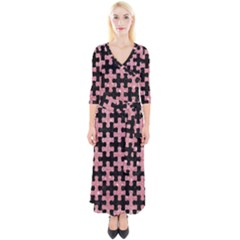 Puzzle1 Black Marble & Pink Glitter Quarter Sleeve Wrap Maxi Dress