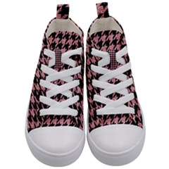 Houndstooth1 Black Marble & Pink Glitter Kid s Mid Top Canvas Sneakers
