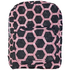 Hexagon2 Black Marble & Pink Glitter (r) Full Print Backpack