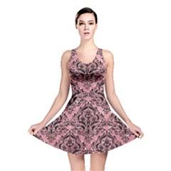 Damask1 Black Marble & Pink Glitter Reversible Skater Dress