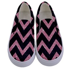 Chevron9 Black Marble & Pink Glitter (r) Kids  Canvas Slip Ons