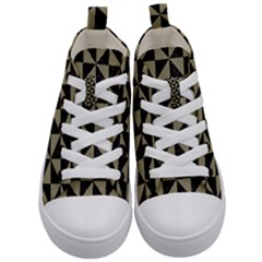 Triangle1 Black Marble & Khaki Fabric Kid s Mid Top Canvas Sneakers