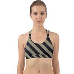 Stripes3 Black Marble & Khaki Fabric Back Web Sports Bra
