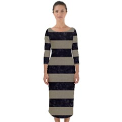 Stripes2black Marble & Khaki Fabric Quarter Sleeve Midi Bodycon Dress