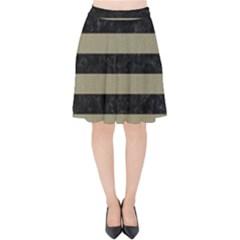 Stripes2black Marble & Khaki Fabric Velvet High Waist Skirt