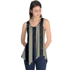 Stripes1 Black Marble & Khaki Fabric Sleeveless Tunic