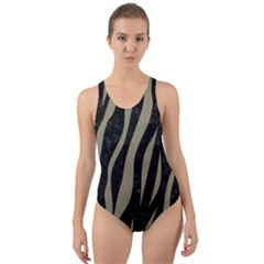 Skin3 Black Marble & Khaki Fabric (r) Cut Out Back One Piece Swimsuit