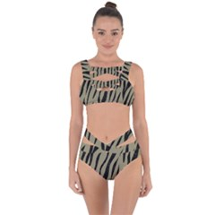 Skin3 Black Marble & Khaki Fabric Bandaged Up Bikini Set