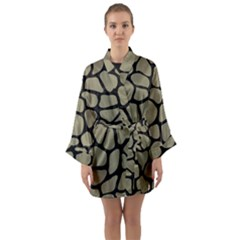 Skin1 Black Marble & Khaki Fabric (r) Long Sleeve Kimono Robe