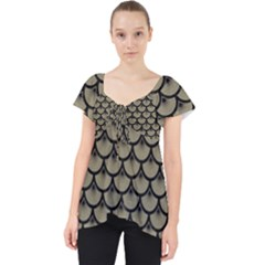 Scales3 Black Marble & Khaki Fabric Lace Front Dolly Top