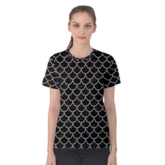 Scales1 Black Marble & Khaki Fabric (r) Women s Cotton Tee