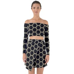 Hexagon2 Black Marble & Khaki Fabric (r) Off Shoulder Top With Skirt Set
