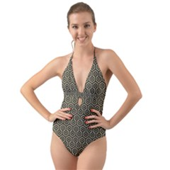 Hexagon1 Black Marble & Khaki Fabric Halter Cut Out One Piece Swimsuit