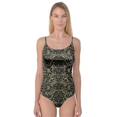 Damask2 Black Marble & Khaki Fabric Camisole Leotard