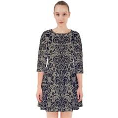 Damask2 Black Marble & Khaki Fabric Smock Dress