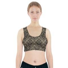 Damask1 Black Marble & Khaki Fabric Sports Bra With Pocket