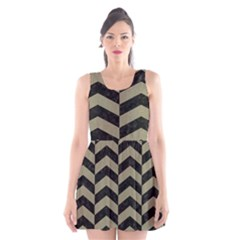 Chevron2 Black Marble & Khaki Fabric Scoop Neck Skater Dress