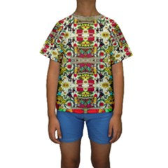 Chicken Monkeys Smile In The Floral Nature Looking Hot Kids  Short Sleeve Swimwear