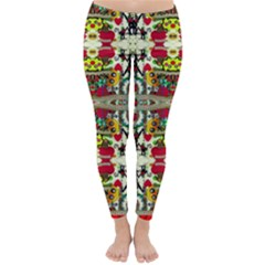 Chicken Monkeys Smile In The Floral Nature Looking Hot Classic Winter Leggings