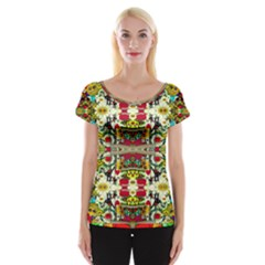 Chicken Monkeys Smile In The Floral Nature Looking Hot Cap Sleeve Tops