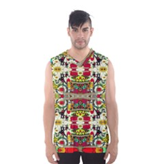 Chicken Monkeys Smile In The Floral Nature Looking Hot Men s Basketball Tank Top