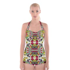 Chicken Monkeys Smile In The Floral Nature Looking Hot Boyleg Halter Swimsuit