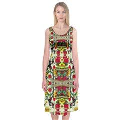 Chicken Monkeys Smile In The Floral Nature Looking Hot Midi Sleeveless Dress
