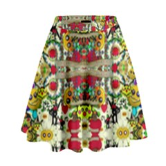 Chicken Monkeys Smile In The Floral Nature Looking Hot High Waist Skirt