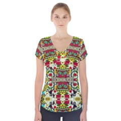 Chicken Monkeys Smile In The Floral Nature Looking Hot Short Sleeve Front Detail Top
