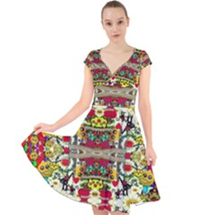 Chicken Monkeys Smile In The Floral Nature Looking Hot Cap Sleeve Front Wrap Midi Dress