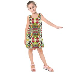 Chicken Monkeys Smile In The Floral Nature Looking Hot Kids  Sleeveless Dress