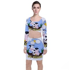 Friends Not Food   Cute Pig And Chicken Long Sleeve Crop Top & Bodycon Skirt Set