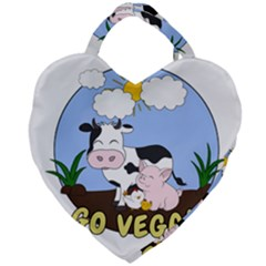 Friends Not Food   Cute Pig And Chicken Giant Heart Shaped Tote
