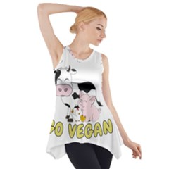 Friends Not Food   Cute Pig And Chicken Side Drop Tank Tunic
