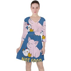 Friends Not Food   Cute Pig And Chicken Ruffle Dress