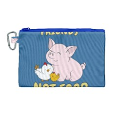 Friends Not Food   Cute Pig And Chicken Canvas Cosmetic Bag (large)