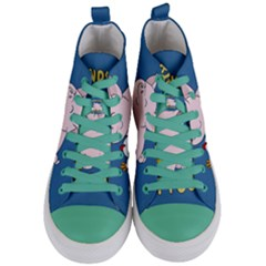Friends Not Food   Cute Pig And Chicken Women s Mid Top Canvas Sneakers