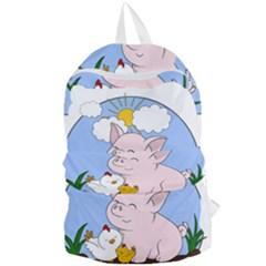 Friends Not Food   Cute Pig And Chicken Foldable Lightweight Backpack