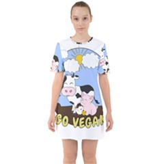 Friends Not Food   Cute Cow, Pig And Chicken Sixties Short Sleeve Mini Dress