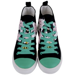Friends Not Food   Cute Cow, Pig And Chicken Women s Mid Top Canvas Sneakers