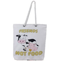 Friends Not Food   Cute Cow, Pig And Chicken Full Print Rope Handle Tote (large)