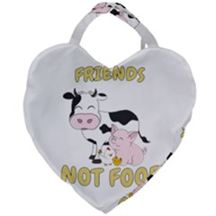 Friends Not Food   Cute Cow, Pig And Chicken Giant Heart Shaped Tote