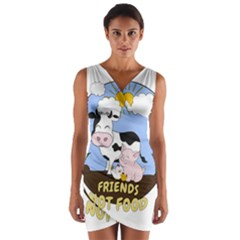 Friends Not Food   Cute Cow, Pig And Chicken Wrap Front Bodycon Dress